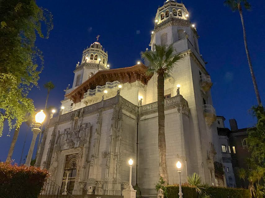 Hearst Castle lit up at night.