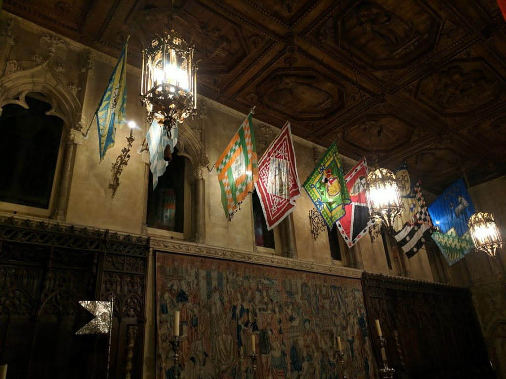 Silk Banners hanging in Hearst Castle's Refectory.