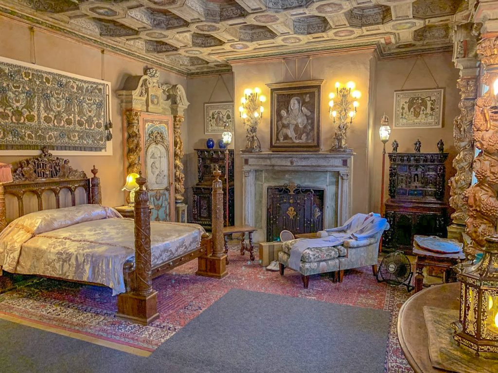 A guest room at Hearst Castle