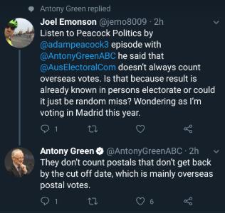 Tweet about overseas postal votes