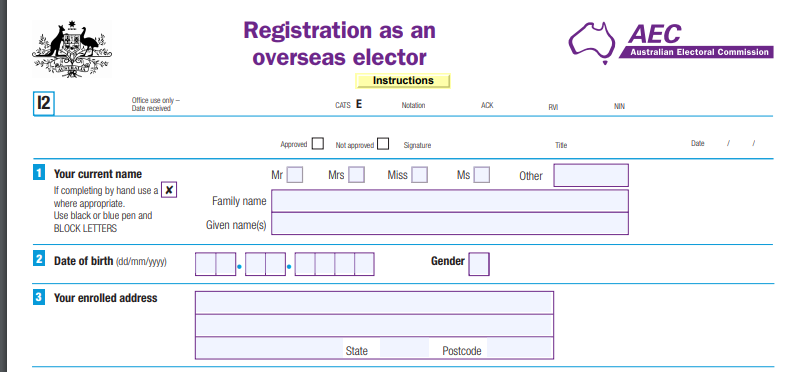 Register as an overseas elector for Australin elections form