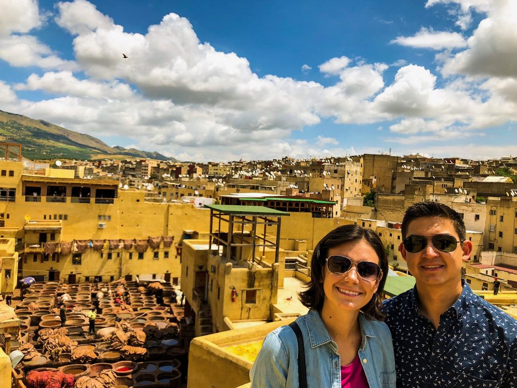 Couple visiting Fes tanneries