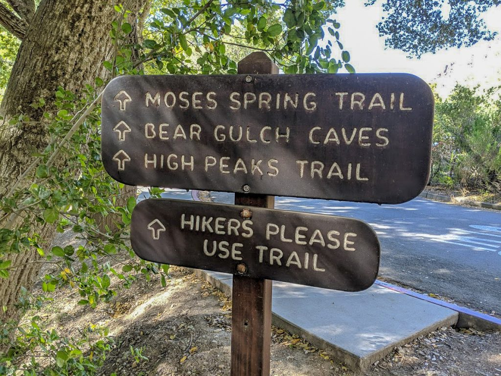 Pinnacles National Park hiking trail sign