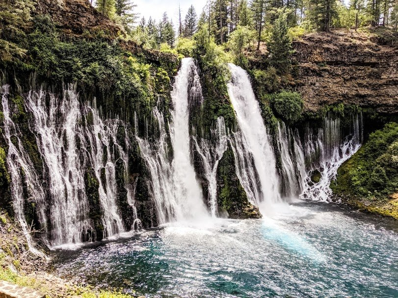 Burney Falls waterfalls over rocks
